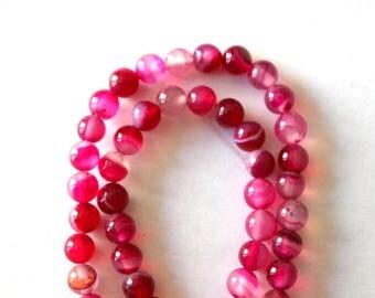 6 mm Dark and Light Pink Striped Agate Gemstone Beads
