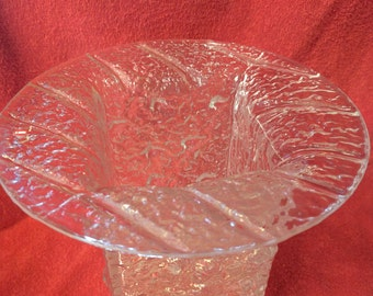 Timeless Vintage TIMO SARPANEVA Art Glass Textured Vase Iittala Finland Signed