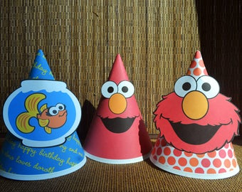 3 Elmo Birthday Hats, Elmo Party Hats, Elmo Hat Printables, Sesame Street Elmo birthday party, Sesame Street hats, Sesame Street party
