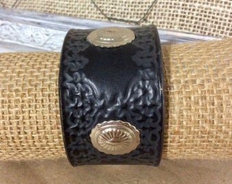 Black Tooled Leather Cuff Bracelet with Silver Conchos -Statement Bracelet-Distressed Leather -Boho Cuff -Indie Jewelry -Unisex Leather Cuff
