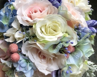 Silk Bridal Bouque,Bridesmaid Bouquet,Shabby Chic, Rustic Bouquet,Pink and Lavender roses,Elegant Weddings