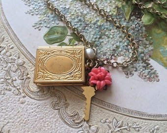 Gold plated book locket key necklace, pearl necklace, locket necklace, charms necklace, pendants necklace, for her, gift