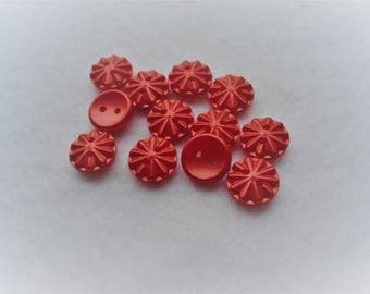 13mm Acrylic Sewing Buttons, 2-Hole Round Buttons, Pack of 20 Red Buttons, A1314