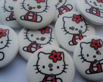 28mm 2-Hole Wooden Kitten Buttons, Printed Flat Round Buttons, Colourful Pack of 25 Buttons, WW3026