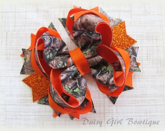 Realtree Camo Hair Bow-Camo Wedding Hair Bow-Hunting Camouflage Hair Bow-Hunter Orange Boutique Hair Bow-Little Girls Hair Bows.