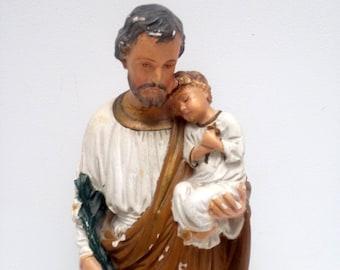 vintage Joseph Jesus chalkware religious Figure Statue