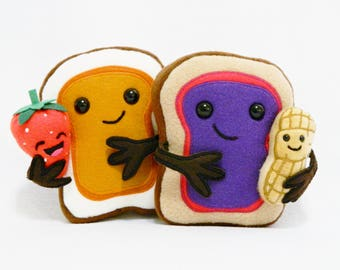 Plush peanut butter jelly family toys