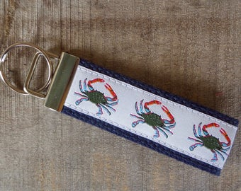 Blue Crab Nautical Key Fob/ Preppy Key Chain / Party Theme Key Fob /Blue Crab /Leather Key Chain/ Key Ring/ Nautical Key Fob