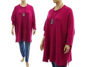 Oversized pink sweater, merino wool long knitted sweater, lagenlook batwing magenta merino wool sweater plus size women XL-3XL US size 16-26