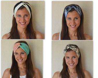 4 HEADBANDS JUST USD.30.-Cotton stretchy Black and white stripe-Cheetah-Tribal print headbads-Accessory-Hair bands-Birthday gift-Hair wrap