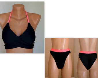 PADDED Black and neon pink wrap around bikini top and high cut scrunch butt bottoms-Swimsuit-Bathing suit-Choose your color-XS-S-M-L-XL