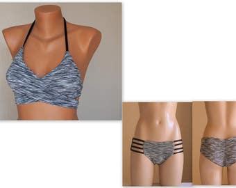 PADDED Reversible gray and black wrap around bikini top and matching strappy bottoms-Bathing suit-Swimwear-Swimsuit-Wrap bikini-XS-S-M-L-XL