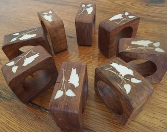 Vintage Wood Napkin Rings With Inlay Square Shape Set of 8