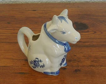 Vintage Cow Creamer Pitcher Ceramic Blue and White
