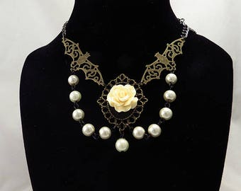 Bat Rose Necklace Gothic Bronze Ivory Pearl Chain Choker