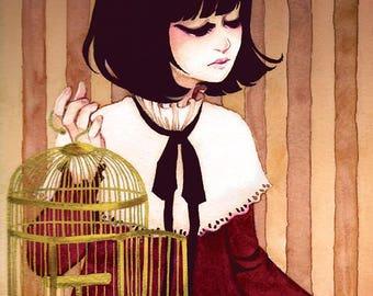Birdcage Lolita Print 4x6 8x10 Watercolor Classic Girl Kawaii Original Art Postcard