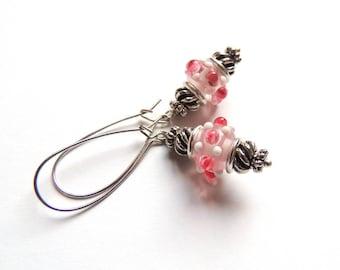 Baby Pink Bobble Lampwork Earrings. Silver Earrings. Dangle Earrings. Handmade Earrings. Handcrafted Jewelry. Everyday Jewelry