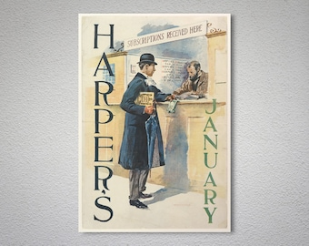Harper's January by Edward Penfield - Poster Paper, Sticker or Canvas Print