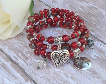 Red Beaded Bracelet Vintage Heart Charm Memory Wire Boho Stacked Multistrand Wrap Gifts for Her Sweettheart Valentines Day Presents BJGB71
