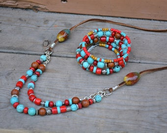 Turquoise, Red Coral & Wood Bead Necklace Long Rustic Multistrand Chunky Boho Tribal Southwestern Jewelry OOAK Birthday Gifts for Her BJGN02