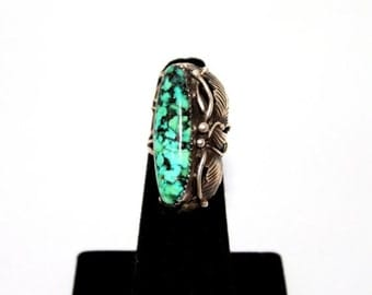 HALLOWEEN SALE 20% OFF 1970s Turquoise Sterling Silver Navajo Ring