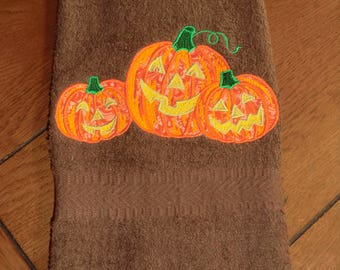Embroidered Terry  Hand Towel - Halloween - 3 Appliqued Pumpkins - Brown Towel