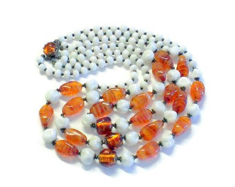Triple Strand Amber Foiled Rootbeer Swirl and White Milk Glass Beads