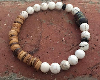 White Magnesite, African Trade Bead and Wood Heishe Stretch Bracelet