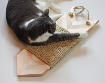 Rose Gold and Natural Wood Large Modern Cat Scratcher