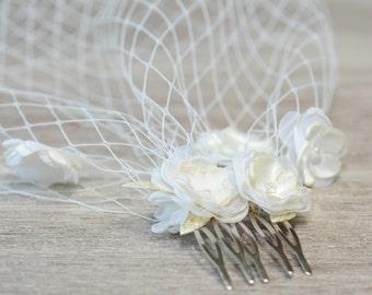 Birdcage veil Beige Ivory birdcage veil Flower birdcage veil Floral Wedding veil Bandeau veil Russian Veil Bird Cage Veil Bridal Veil boho