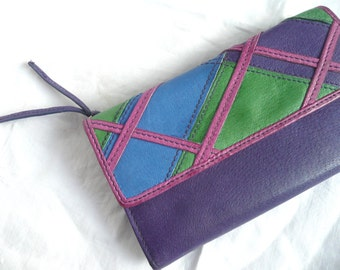 Saddler leather wallet - purple leather wallet - vintage Saddler leather wallet - vintage designer wallet - purple and green organizer