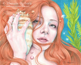 Song of the Ocean - Open edition art print, colored pencil drawing, fantasy, mermaid