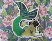 Mermaid Pug Vinyl Sticker | Mer-Pug Unique Waterproof Sticker | Cat Car Sticker | Laptop Sticker | Outdoor Sticker | Nonfade Sticker