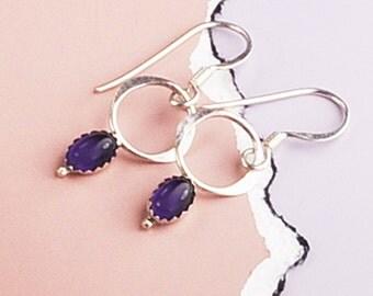 Amethyst Silver Earrings, Purple Earrings, Amethyst and Hoop Earrings, Sterling Silver Earrings, Circle Earrings, O and Amethyst Earrings