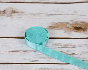 "5 Yards Aruba Aqua 5/8"" Satin Plush Back Strap Elastic Bra Making Bramaking Supplies Lingerie Sewing Latex Free Factory Dyed"