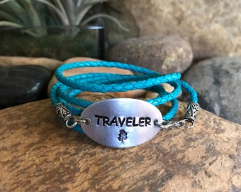 Traveler leather wrap bracelet, traveler jewelry, world traveller, graduation gifts, traveller, explore jewelry, sightseeing, flying, blue