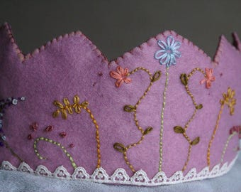 One custom made embroidered felt crown