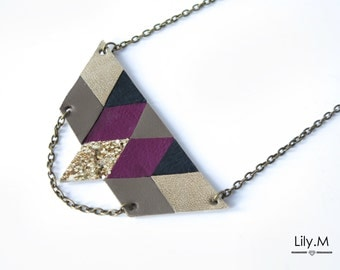 Breastplate necklace short leather, Eggplant and gold RIHA, Lily.M