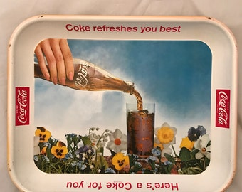 1961 Coca Cola Tray - Yellow Flowers - Excellent Vintage Condition