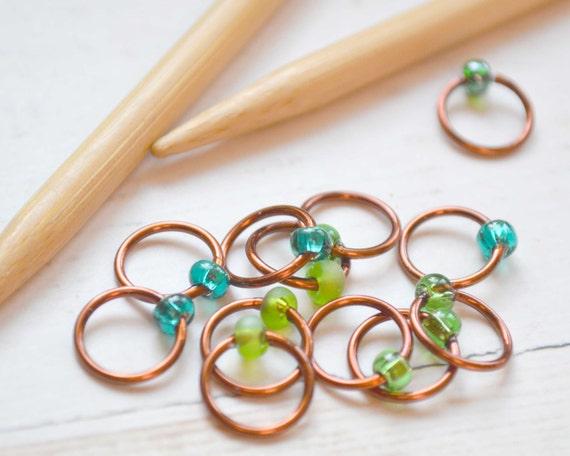 Knitting Stitch Markers / Gather No Moss / Dangle Free - Snag Free - Colorful Knitting Stitch Markers - Small Medium Large Sizes Available