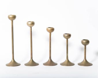 Mid Century Brass Graduated Height Candle Holders 1960s Set of 5 Round Top