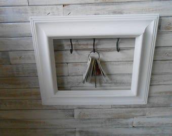 Picture Frame Key Holder- White Key Rack - Framed Jewelry Holder - White Framed Key Holder - Cottage/Farmhouse Key Rack - Jewelry Holder