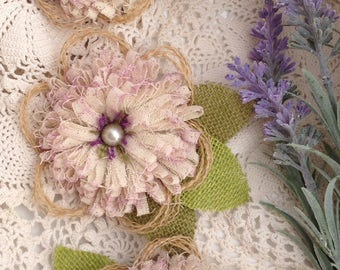 Purple Shabby Muslin Flowers with Burlap Petals and Leaves - Set of 3 -Rustic Wedding, Burlap Flowers, Wedding Brooch, Bridal Brooch