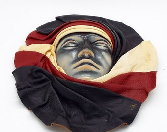Collectable Vintage Ceramic & Leather Artisan Created Wall Mask Signed