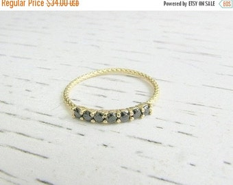 New Year Sale - Thin gold ring, gold ring, statement ring, thin diamond band,stackable ring, thin cz ring, black diamonds ring, black cz rin