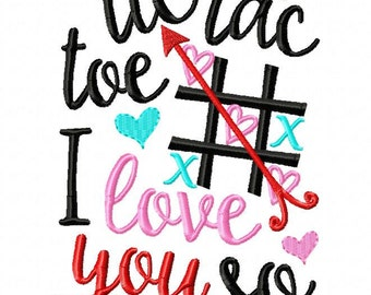 Tic Tac Toe I Love You So - Valentine Shirt - Embroidered tee - Valentines custom shirt