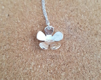 Flower necklace, Silver necklace, Silver flower necklace, Nature necklace, Flower pendant, Flower jewelry, Silver flower, Flower