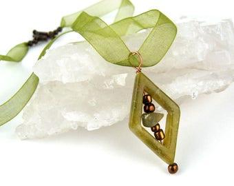 Green Onyx Pendant, Jasper, Semi Precious Stones, Glass Beads, Copper Wire, Art Deco, Statement Necklace, Green, Organza Ribbon, Gift