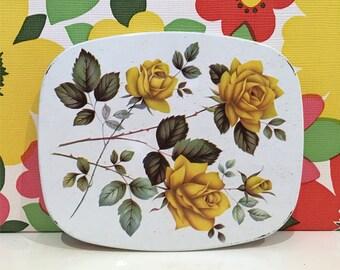 Vintage Set of 6 Rose Metal Coasters