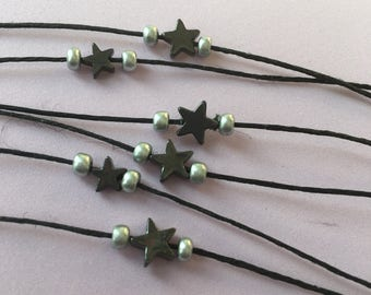 Hematite Star Choker - Hemp, Black, Silver, Layer Necklace